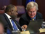 Nevada Assemblyman Jason Frierson, left, and Sen. Tick Segerblom, both D-Las Vegas, work in committee at the Legislative Building, in Carson City, Nev. on Wednesday, Feb. 20, 2013. .Photo by Cathleen Allison