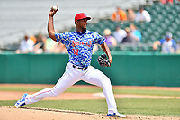 Tennessee Smokies starting pitcher Oscar De La Cruz (37) delivers a pitch during a game against the Mississippi Braves at Smokies Stadium on May 20, 2018 in Kodak, Tennessee. The Braves defeated the Smokies 7-4. (Tony Farlow/Four Seam Images)