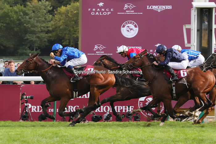 October 06, 2019, Paris (France) - Victor Ludorum (3) with Mickael Barzalona up wins the Qatar Prix Jean-Luc Lagardere (Gr. I) on October 6 in ParisLongchamp. [Copyright (c) Sandra Scherning/Eclipse Sportswire)]