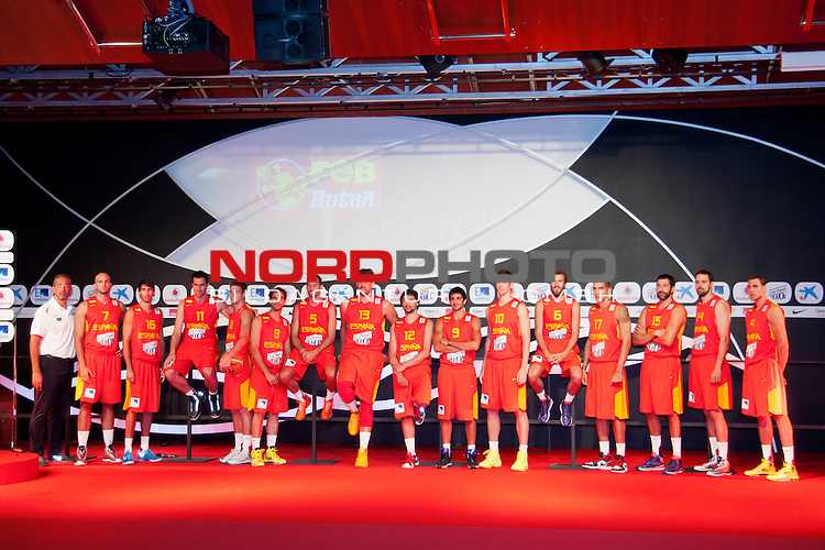 Presentation of the Spanish Basketball Team. July 31, 2013. Foto &copy; nph / Adrian P. Rincon)<br /> Ricky Rubio, Marc Gasol, Jos&radic;&copy; Manuel Calder&radic;&ge;n