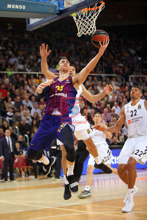 Turkish Airlines Euroleague 2018/2019. <br /> Regular Season-Round 24.<br /> FC Barcelona Lassa vs R. Madrid: 77-70. <br /> Victor Claver.