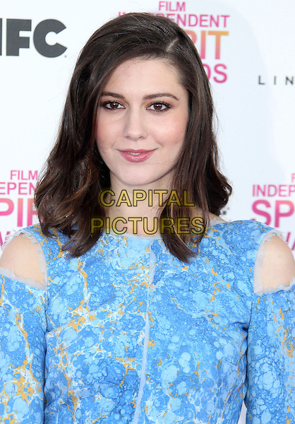 Mary Elizabeth Winstead.2013 Film Independent Spirit Awards - Arrivals Held At Santa Monica Beach, Santa Monica, California, USA,.23rd February 2013..indy indie indies indys portrait headshot cut out orange blue print .CAP/ADM/RE.©Russ Elliot/AdMedia/Capital Pictures