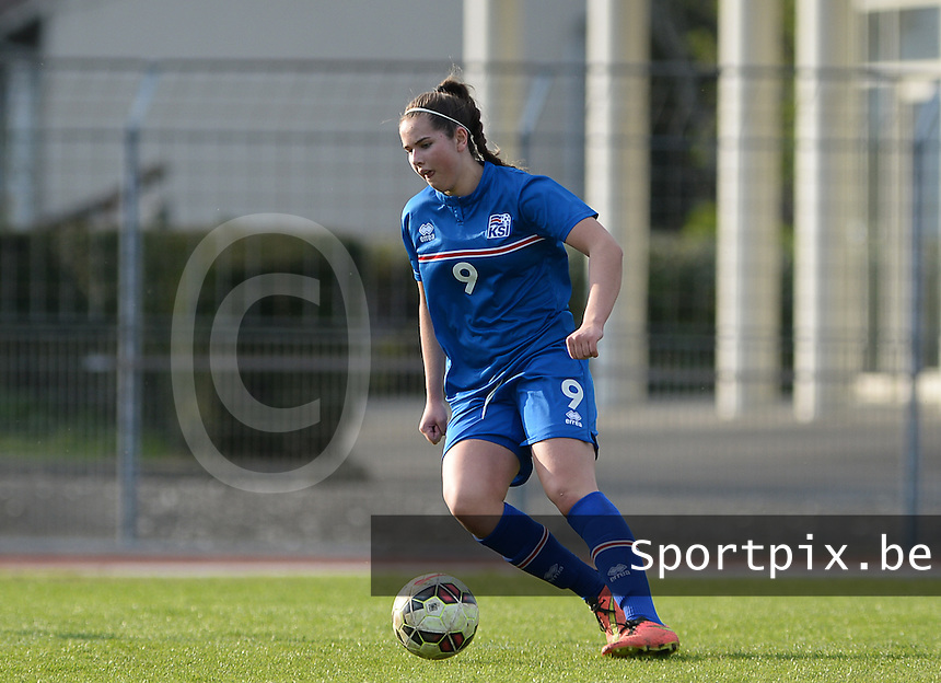 20150406 - MELUN , FRANCE  : Icelandic Esther Ros Arnarsdottir  pictured during the soccer match between Women Under 19 teams of Iceland and Russia , on the second matchday in group 3 of the UEFA Elite Round Women Under 19 at Stade Municipal , Melun , France . Monday 6th April 2015 . PHOTO DAVID CATRY