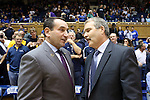 04 November 2016: Duke head coach Mike Krzyzewski (left) and Augustana head coach Tom Billeter (right) meet before the game. The Duke University Blue Devils hosted the Augustana University Vikings at Cameron Indoor Stadium in Durham, North Carolina in a 2016-17 NCAA Division I Men's Basketball exhibition game.