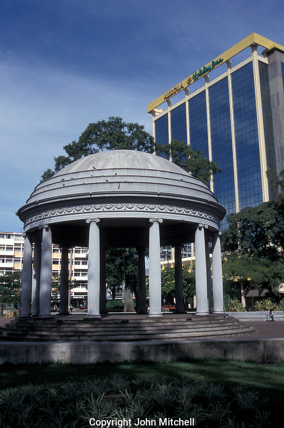 The Templo de Musica in Parque Morazan, San Jose Costa, Rica. The Aurola Holiday Inn hotel is in the background.