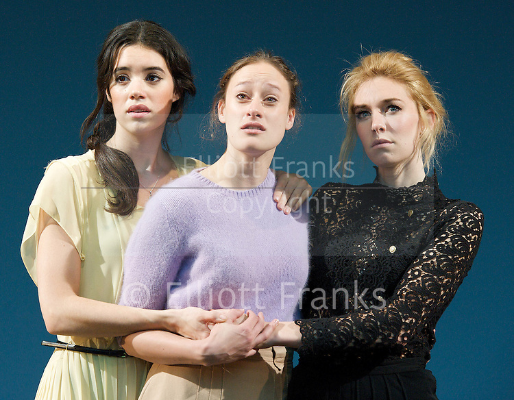 Three Sisters <br /> by Anton Chekhov<br /> in a version by Benedict Andrews<br /> at The Young Vic Theatre, London, Great Britain <br /> press photocall<br /> 12th September 2012 <br /> <br /> Gala Gordon as Irina<br /> <br /> Mariah Gale as Olga<br /> <br /> Vanessa Kirby as Masha<br /> <br /> <br /> Photograph by Elliott Franks