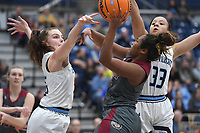 Springdale's Taly Sysavanh (CQ) gets her shot broken up by Har-Ber's Sophie Nelson (left) and Pacious McDaniel Tuesday Jan. 14, 2020 at Har-Ber. Visit http://bit.ly/2Rm1Z2e for a gallery from the game. (NWA Democrat-Gazette/J.T. Wampler)