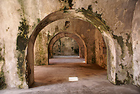 Interior of San Juan de Ulua fortress in the city of Veracruz, Mexico. This fort was built by the Spanish between 1552 and 1779 to protect Veracriz from pirates. It was used as a prison during the Porfirio Diaz regime.