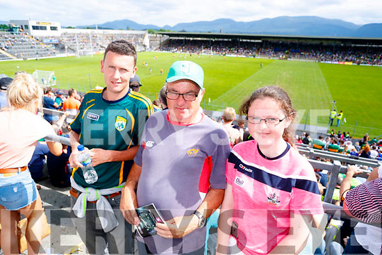 Kieran Cronin (Ballinskelligs) with Mick Lewis and Sarah Jane Lewis (Cork), pictured at the Kerry v Clare Munster semi-final at Fitzgerald Stadium, Killarney on Sunday last.