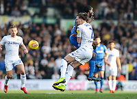 Bolton Wanderers' Clayton Donaldson collides with Leeds United's Luke Ayling <br /> <br /> Photographer Andrew Kearns/CameraSport<br /> <br /> The EFL Sky Bet Championship - Leeds United v Bolton Wanderers - Saturday 23rd February 2019 - Elland Road - Leeds<br /> <br /> World Copyright © 2019 CameraSport. All rights reserved. 43 Linden Ave. Countesthorpe. Leicester. England. LE8 5PG - Tel: +44 (0) 116 277 4147 - admin@camerasport.com - www.camerasport.com