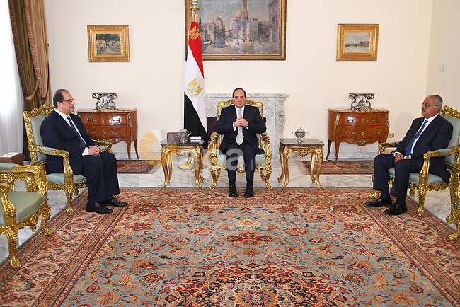 Egyptian President Abdel Fattah al-Sisi (C) meets with General Abbas Kamel the new head of General Intelligence Directorate (L) and Nasser Fahmy the new vice Director of the Egyptian Intelligence (R), at the Presidential Palace, Cairo, Egypt, 28 June 2018. Photo by Egyptian President Office