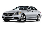 Stock pictures of low aggressive front three quarter view of a 2018 Mercedes Benz C-Class Sedan C350e Plug-in Hybrid 4 Door Sedan