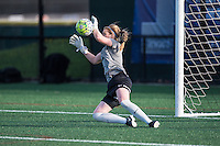 Allston, MA - Sunday, April 24, 2016: Boston Breakers goalkeeper Libby Stout (1) during warmups. The Boston Breakers play Seattle Reign during a regular season NSWL match at Harvard University.