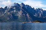 Jagged mountain peaks Raftsundet strait, Lofted Islands, Nordland, northern Norway