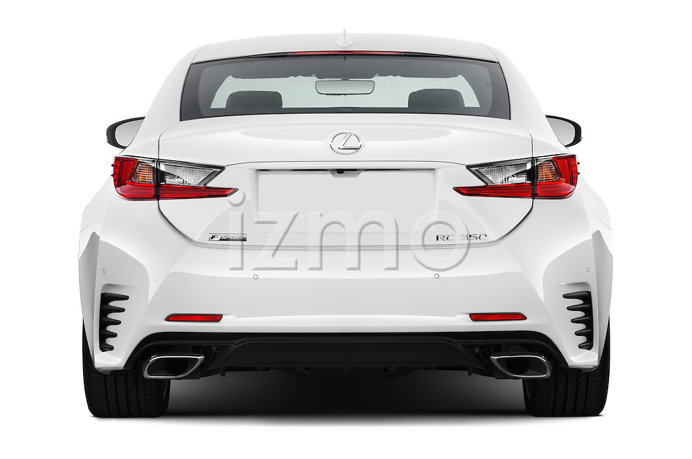 Straight rear view of a 2015 Lexus RC F Sport 2 Door Coupe 2WD Rear View  stock images