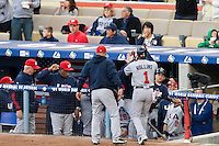 22 March 2009: #1 Jimmy Rollins of USA is congratulated by teammates after scoring during the 2009 World Baseball Classic semifinal game at Dodger Stadium in Los Angeles, California, USA. Japan wins 9-4 over Team USA.
