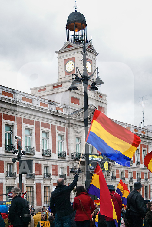 Demonstration in Madrid to commemorate the II Republic of 14 April 1931 and to support a call for the establishment of the III Republic. Spain, Madrid..(Alterphotos/Alconada)
