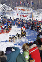 Sunday, March 4, 2012  Mitch Seavey leaves the starting ling at the restart of Iditarod 2012 in Willow, Alaska.