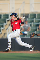 Alex Call (2) of the Kannapolis Intimidators follows through on his swing against the Lakewood BlueClaws at Kannapolis Intimidators Stadium on August 11, 2016 in Kannapolis, North Carolina.  The Intimidators defeated the BlueClaws 3-1.  (Brian Westerholt/Four Seam Images)