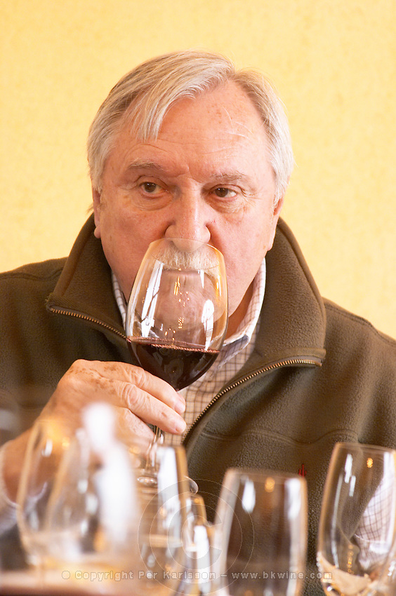 Carlos Vidal president owner, toasting in a glass of white wine at the table with plenty of glasses. Bodega Del Anelo Winery, also called Finca Roja, Anelo Region, Neuquen, Patagonia, Argentina, South America