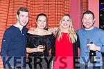 Peter McAulliffe, Eva moynihan, Karen mcGrath and Seamus McKenna  enjoying New Years eve in the Scotts Hotel Killarney on Saturday
