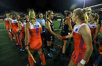 Blacksticks and Netherlands shake hands during the World Hockey League final between the Netherlands and New Zealand. North Harbour Hockey Stadium, Auckland, New Zealand. Sunday 26 November 2017. Photo:Simon Watts / www.bwmedia.co.nz