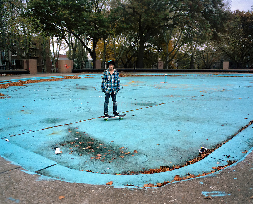 Blue skater in pool in Sunset Park, Brooklyn