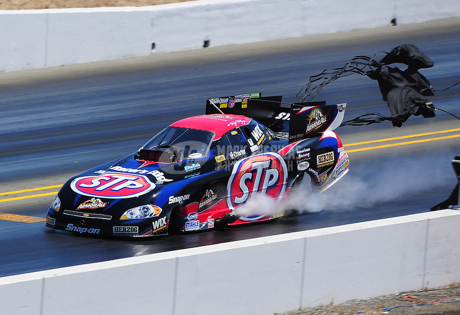 Jul. 30, 2011; Sonoma, CA, USA; NHRA funny car driver Tony Pedregon during qualifying for the Fram Autolite Nationals at Infineon Raceway. Mandatory Credit: Mark J. Rebilas-