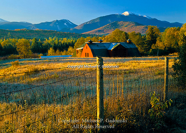 Barn in autumn with the MacIntyre Range from North Elba, Adirondack Mts, New York