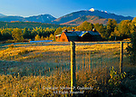 Barn in autumn with the MacIntyre Range from North Elba, Adirondack Mts, New York