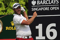 Christian Nilsson (SWE) tees off on the 16th tee during Friday's  Round 2 of the 2011 Barclays Singapore Open, Singapore, 11th November 2011 (Photo Eoin Clarke/www.golffile.ie)