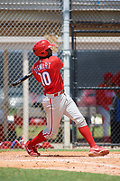 GCL Phillies third baseman D.J. Stewart (10) hits a double during a game against the GCL Tigers East on July 25, 2017 at TigerTown in Lakeland, Florida.  GCL Phillies defeated the GCL Tigers East 4-1.  (Mike Janes/Four Seam Images)