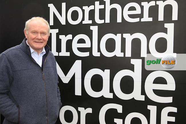 Martin McGuinness Deputy First Minister of Northern Ireland visits the course during the Pro-Am of the 2015 Dubai Duty Free Irish Open, Royal County Down Golf Club, Newcastle Co Down, Northern Ireland. 27/05/2015 <br /> Picture Eoin Clarke, www.golffile.ie
