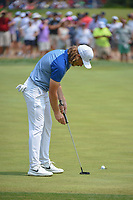 Tommy Fleetwood (ENG) sinks his putt on 11 during 4th round of the 100th PGA Championship at Bellerive Country Club, St. Louis, Missouri. 8/12/2018.<br /> Picture: Golffile   Ken Murray<br /> <br /> All photo usage must carry mandatory copyright credit (© Golffile   Ken Murray)
