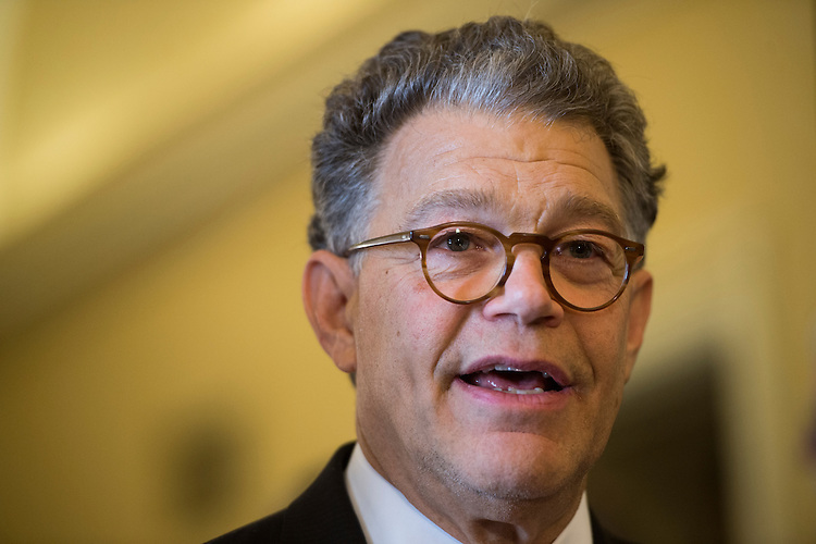UNITED STATES - JULY 24: Sen. Al Franken, D-Minn., speaks during a news conference to call on Congress to raise the national minimum wage on Thursday, July 24, 2014. (Photo By Bill Clark/CQ Roll Call)
