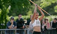 20 MAY 2007 - LOUGHBOROUGH, UK - Jessica Ennis - Javelin - Loughborough International Athletics. (PHOTO (C) NIGEL FARROW)