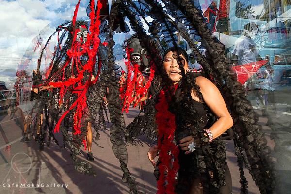 "Trinidad Carnival 2012, Brian Macfarlane's band 'Sanctification"" - photo-illustration woman playing Annihilation"