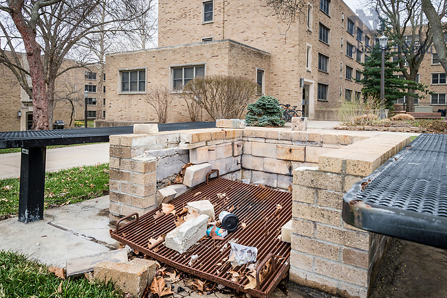 March 20, 2017; Fisher Hall cookout area prior to 2017 renovation. (Photo by Matt Cashore/University of Notre Dame)