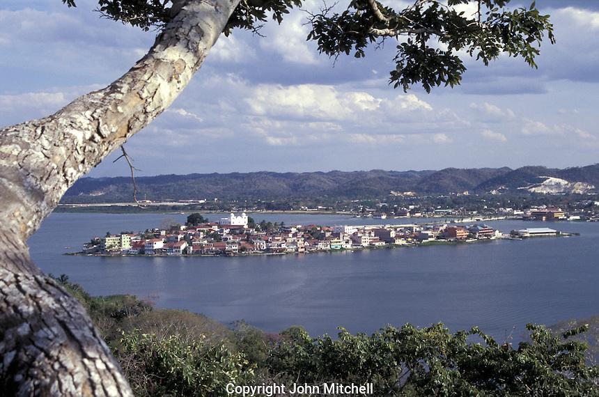 The island of Flores in Lake Peten Itza, El Peten, Guatemala