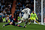 Real Madrid's Alvaro Odriozola and SD Huesca's Roberto Santamaria during La Liga match between Real Madrid and SD Huesca at Santiago Bernabeu Stadium in Madrid, Spain. March 31, 2019. (ALTERPHOTOS/A. Perez Meca)