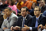 13 March 2015: Duke head coach Mike Krzyzewski (center) with assistant coaches Jeff Capel (left) and Jon Scheyer (right). The Notre Dame Fighting Irish played the Duke University Blue Devils in an NCAA Division I Men's basketball game at the Greensboro Coliseum in Greensboro, North Carolina in the ACC Men's Basketball Tournament semifinal game. Notre Dame won the game 74-64.