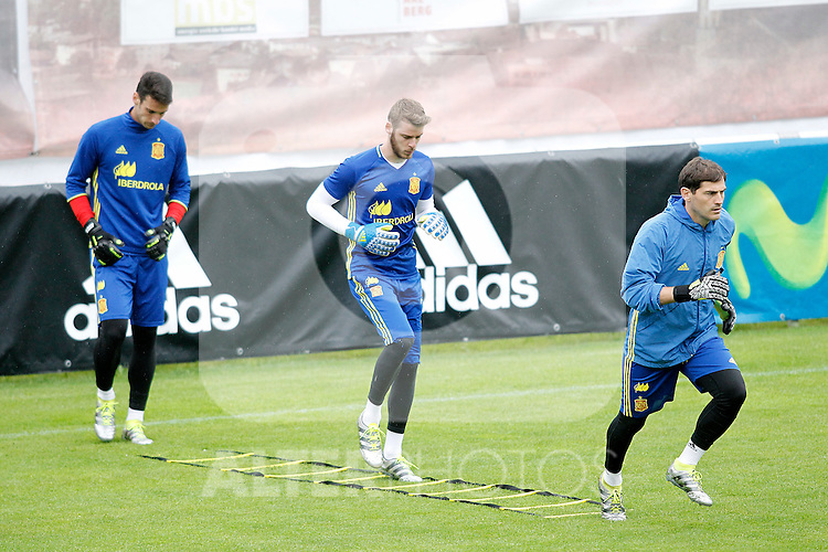 Spain's Sergio Rico, David De Gea and Iker Casillas during preparing training stage to Euro 2016. May 30,2016.(ALTERPHOTOS/Acero)