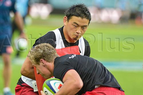 27.02.2016.  Sydney, Australia. Super Rugby. NSW Waratahs versus Queensland Reds. Reds Ayumu Goromaru practices before the game. The Waratahs won 30-10.