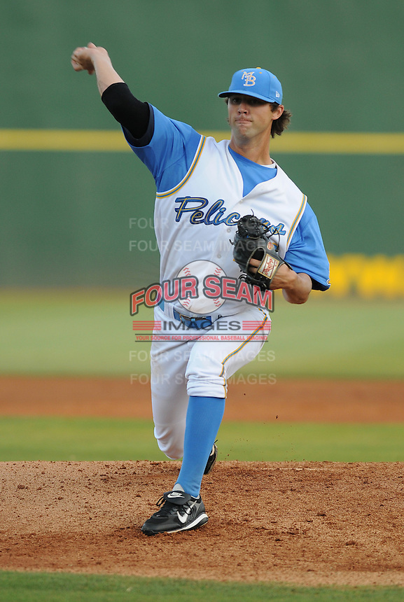 July 7, 2008: RHP Chris Vines (14) of the Myrtle Beach Pelicans, Class A affiliate of the Atlanta Braves, in a game against the Wilmington Blue Rocks at BB&T Coastal Field in Myrtle Beach, S.C. Photo by:  Tom Priddy/Four Seam Image