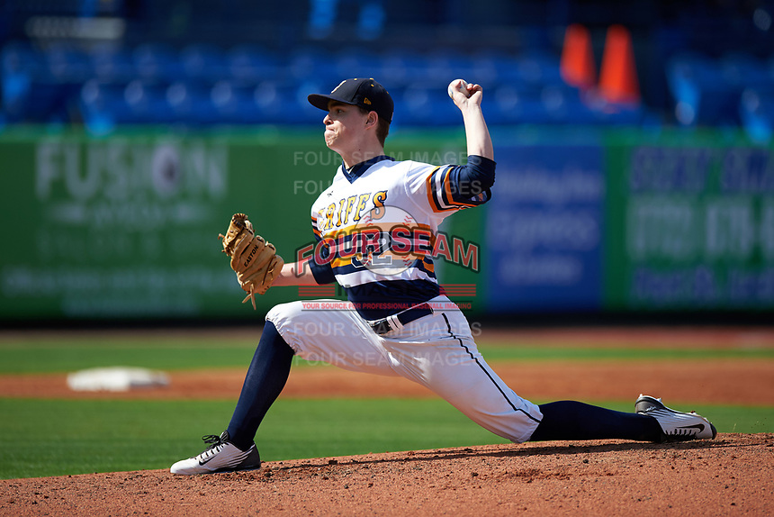 Canisius College Golden Griffins starting pitcher J.P. Stevenson (32) delivers a pitch during the second game of a doubleheader against the Michigan Wolverines on February 20, 2016 at Tradition Field in St. Lucie, Florida.  Michigan defeated Canisius 3-0.  (Mike Janes/Four Seam Images)