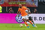 06.09.2019, Volksparkstadion, HAMBURG, GER, EMQ, Deutschland (GER) vs Niederlande (NED)<br /> <br /> DFB REGULATIONS PROHIBIT ANY USE OF PHOTOGRAPHS AS IMAGE SEQUENCES AND/OR QUASI-VIDEO.<br /> <br /> im Bild / picture shows<br /> <br /> Ryan BABEL (Niederlande / NED #09)<br /> Jonathan Tah (Deutschland / GER #05)<br /> <br /> während EM Qualifikations-Spiel Deutschland gegen Niederlande  in Hamburg am 07.09.2019, <br /> <br /> Foto © nordphoto / Kokenge