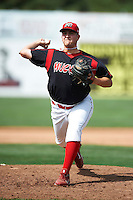 Batavia Muckdogs pitcher Joe Scanio #33 during a NY-Penn League game against the Williamsport Crosscutters at Dwyer Stadium on August 26, 2012 in Batavia, New York.  Batavia defeated Williamsport 7-1.  (Mike Janes/Four Seam Images)