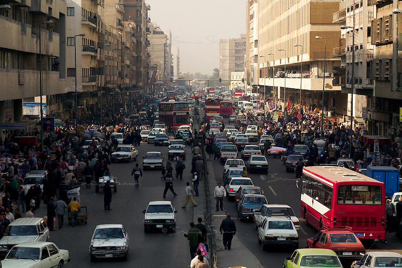 Baghdad, Iraq, Feb 3, 2003.Jumuriyah (Republic) Avenue on the south bank of the Tigris river is one of Baghdad's busiest streets.