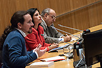Pablo Iglesias, secretary general of Podemos, and journalist Enric Juliana participate in the dialogue 'Nudo España: a year later'<br /> December  5, 2019. <br /> (ALTERPHOTOS/David Jar)