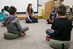 Dr. Martha Mason, director of  DePaul's Education and Counseling Center at the College of Education, leads a meditation class Thursday, April 27, 2017, to introduce children to mindfulness practices such as breathing and observation. (PHOTO RELEASES ON ALL CHILDREN WERE SECURED) (DePaul University/Jamie Moncrief)
